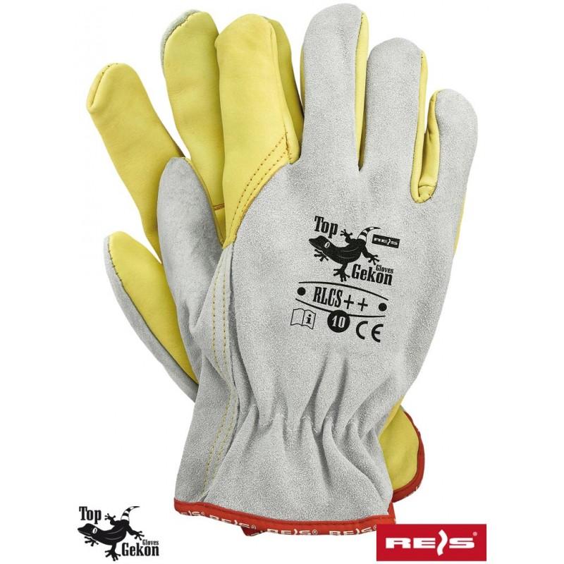 Rękawice-ochronne-skórzane-lico-dwoina-podszewka - RLCS++