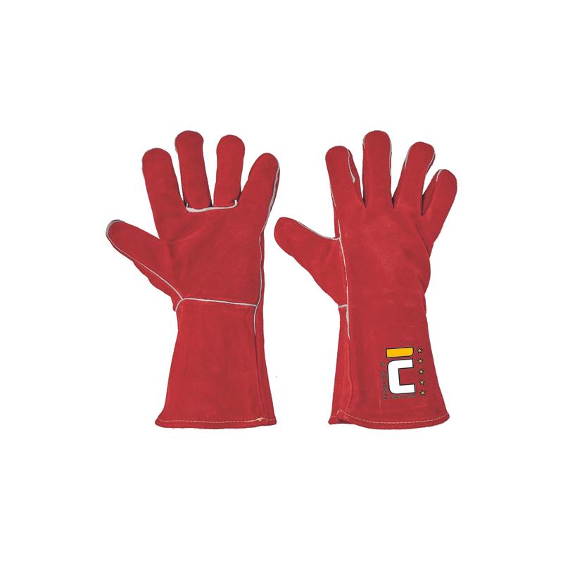 Rękawice-spawalnicze-całoskórzane-dwoina-bydlęca - PUGNAX-RED