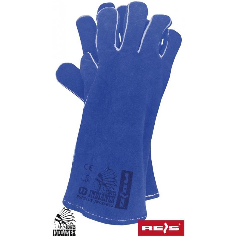 Rękawice-ochronne-skórzane-dwoina-bydlęca - RSPBLUE-INDIANEX