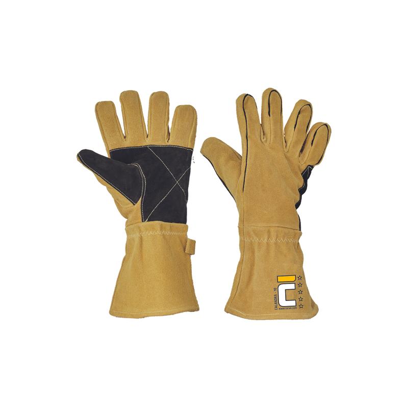 Rękawice-ochronne-spawalnicze-dwoina-bydlęca-wzmocniona-część-chwytna-i-kciuk - CALANDRA