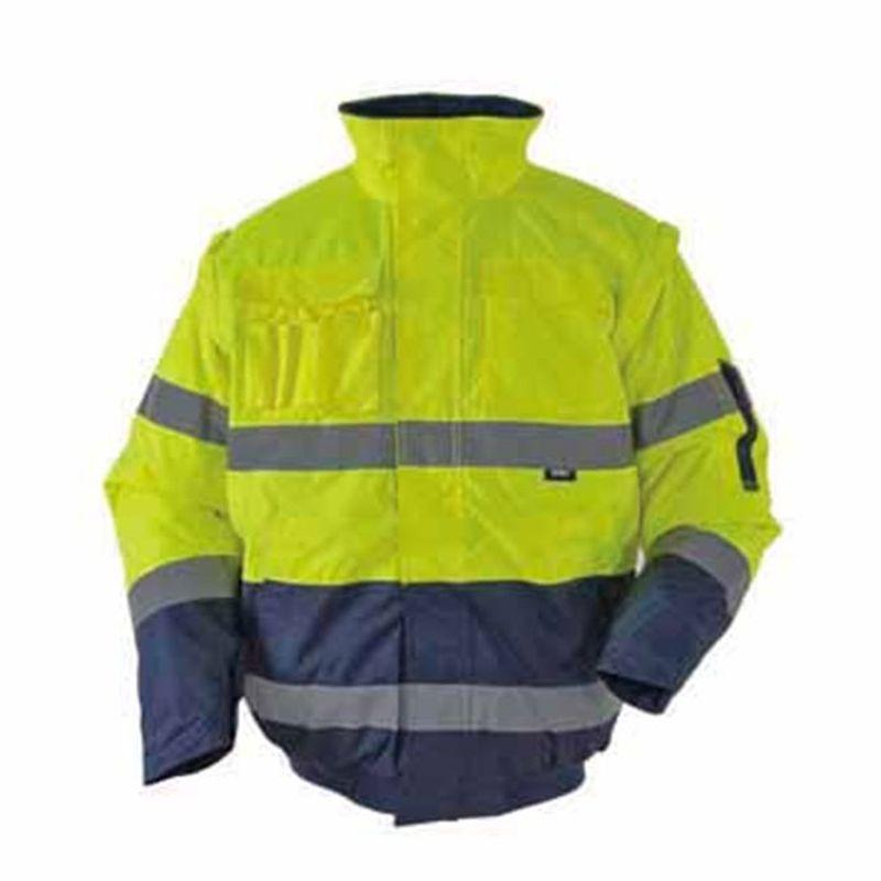 Krótka-kurtka-ocieplana-ostrzegawcza-z-pikowaną-podszewką-odpinanymi-rękawami-przeciwdeszczowa - BETA-VWJK-60B