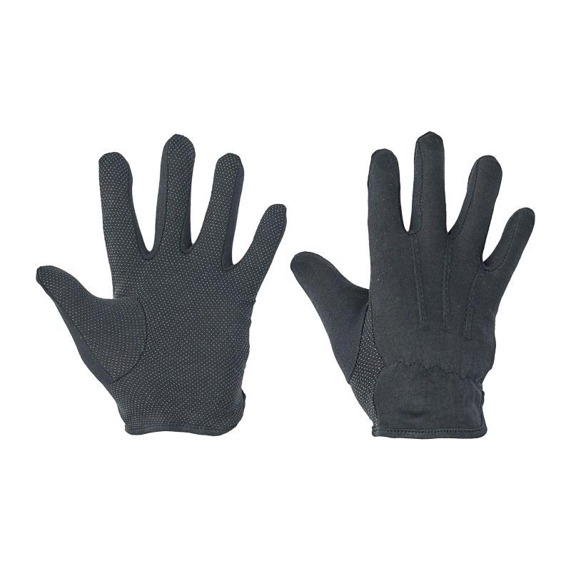 Rękawice-ochronne-bawelniane-dzianinowe-nakrapiane -PVC - BUSTARD BLACK
