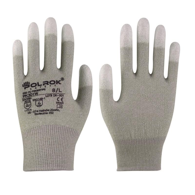 Rękawice-antystatyczne-końce-palców-powlekane-poliuretanem - POLROK-PK-301