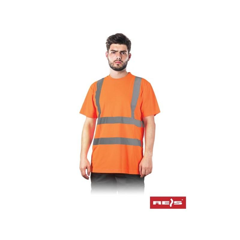 Koszulka-ostrzegawcza-z-krótkim-rękawem-cztery-pasy-odblaskowe - TSROUTE