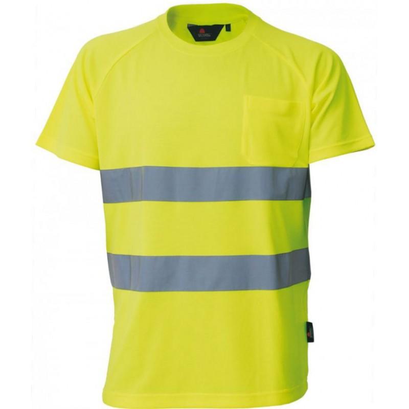 Koszulka-ostrzegawcza-z krótkim-rękawem-z-pasami-odblaskowymi - VWTS01-B