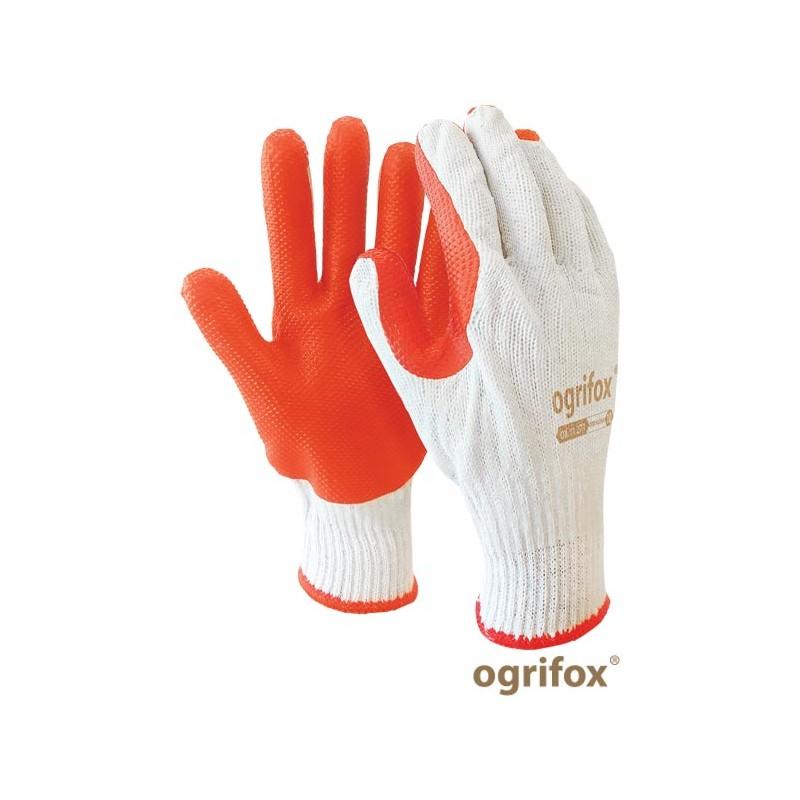 Rękawice-białe-powlekane-podwójnie-wulkanizowaną-gumą - OX-ORANGINA