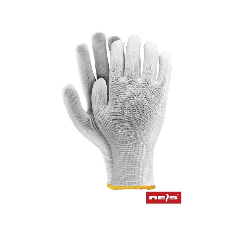 Rękawice-ochronne-dzianinowe-białe-ściągacz - RWULUX