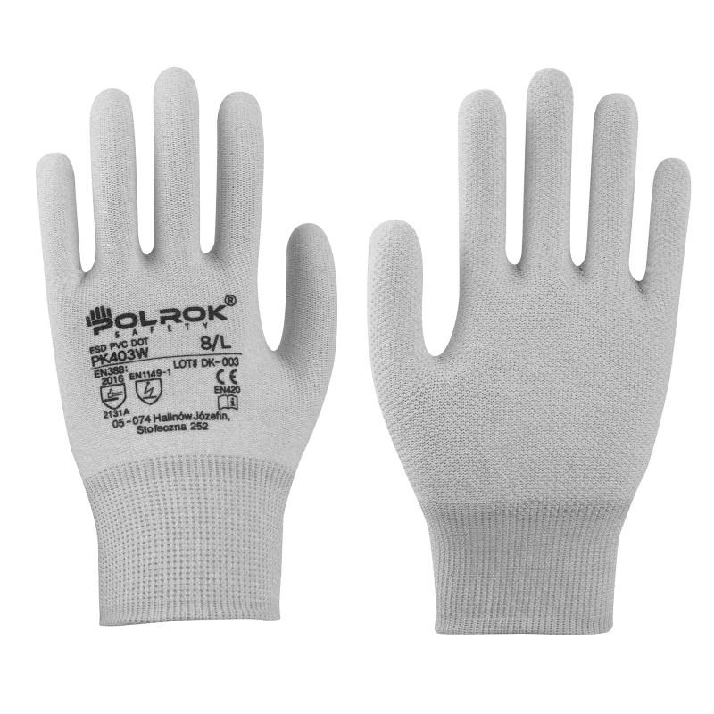 Rękawice-ochronne-antystatyczne-węglowe-nakrapiane-PCV - POLROK-PK-403