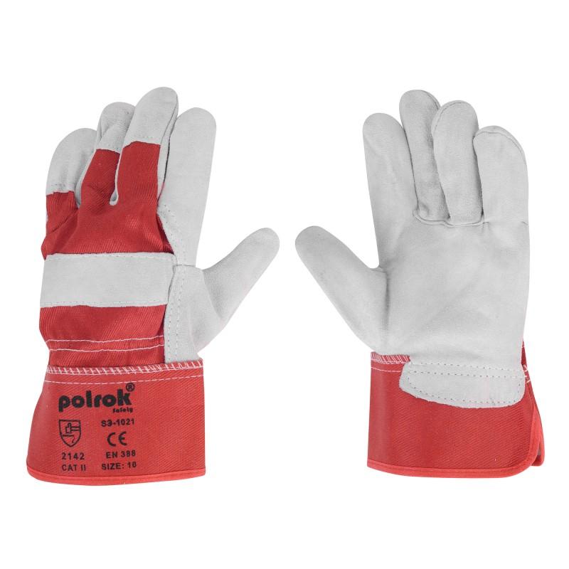 Rękawice-ochronne-wzmacniane-skórą-dwoinową - POLROK-SS-1021