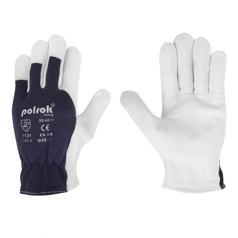 Rękawice-ochronne-wzmocnione-skórą-licową-kozią - POLROK-SS-6011