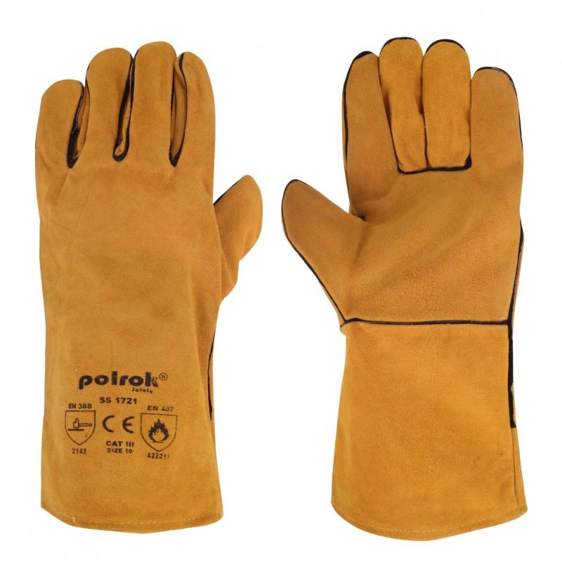 Rękawice-ochronne-spawalnicze-z-dwoiny-bydlęcej - POLROK-SS-1721
